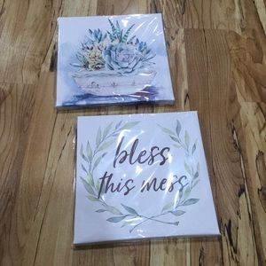 2 canvas wall decor hangings